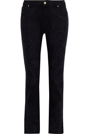 VERSACE COLLECTION Printed mid-rise slim-leg jeans