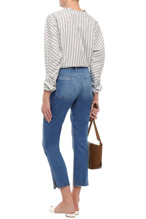 FRAME Studded faded high-rise straight-leg jeans