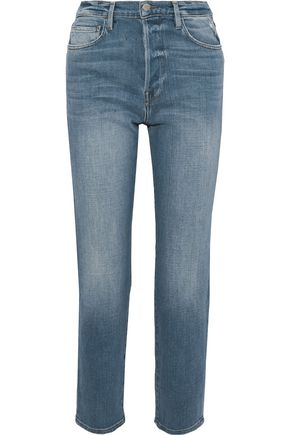 FRAME Soxton cropped distressed high-rise straight-leg jeans