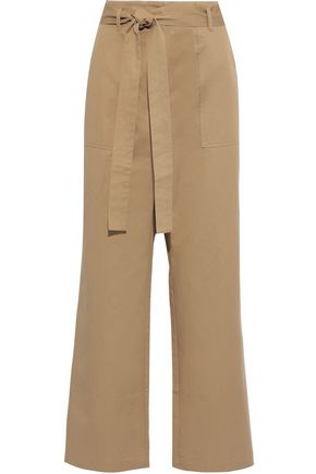 IRIS & INK Gunel belted cotton-twill wide-leg pants