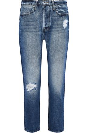 FRAME Pegged cropped distressed boyfriend jeans
