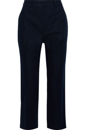 FRAME Cropped cotton and linen-blend straight-leg pants