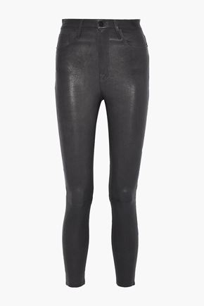 FRAME Ali cropped leather skinny-leg pants