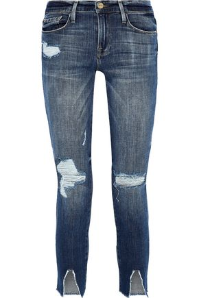 FRAME Le Garçon cropped distressed mid-rise skinny jeans