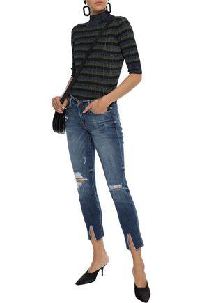 FRAME Le Garçon cropped distressed mid-rise skinny jeans
