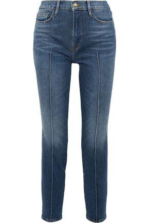 FRAME Le Nouveau faded mid-rise straight-leg jeans