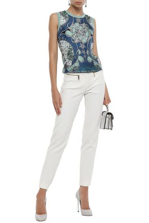 Versace Collection Woman Zip-Detailed Cady Slim-Leg Pants Ivory