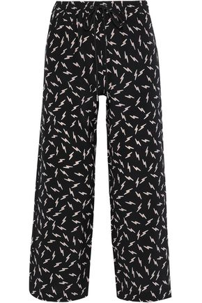 MARKUS LUPFER Orla cropped printed silk crepe de chine wide-leg pants