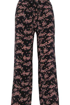 MARKUS LUPFER Orla cropped floral-print silk crepe de chine wide-leg pants