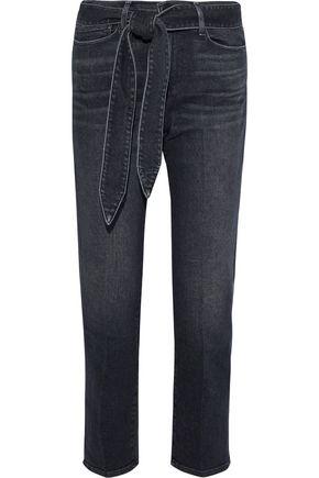 FRAME Le Nouveau cropped tie-front mid-rise straight-leg jeans