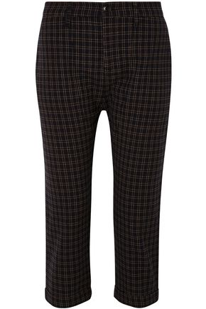 THE GREAT. The Saddle cropped checked twill straight-leg pants