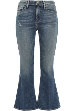 FRAME Beckett distressed mid-rise kick-flare jeans
