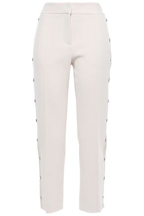 VERONICA BEARD Snap-detailed grosgrain-trimmed woven slim-leg pants