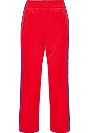 MARC JACOBS Cropped jacquard-trimmed ponte straight-leg pants