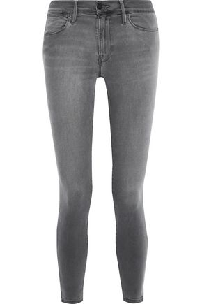 FRAME Le High Skinny cropped distressed high-rise skinny jeans