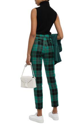 MSGM Checked wool-twill slim-leg pants
