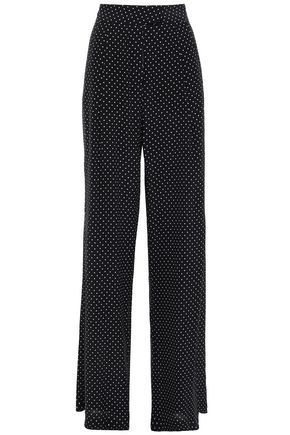 MICHELLE MASON Polka-dot silk crepe de chine wide-leg pants