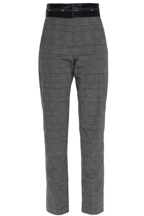 MSGM Cropped velvet-trimmed checked cotton-blend tapered pants