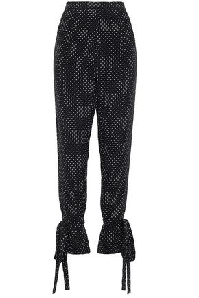MICHELLE MASON Bow-detailed polka dot silk crepe de chine tapered pants