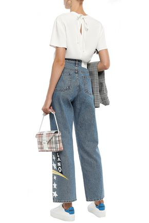 MSGM Printed high-rise straight-leg jeans