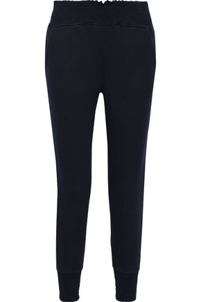 JOIE Makelina shirred French Pima cotton-terry track pants