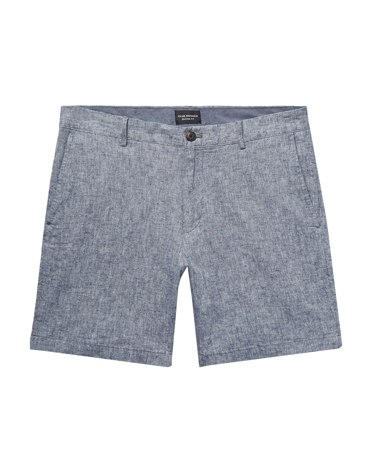 CLUB MONACO Shorts. plain weave, solid color, mid rise, button, zip, multipockets, stretch. 54% Flax, 44% Cotton, 2% Elastane