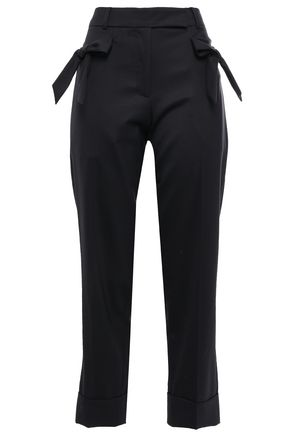 SIMONE ROCHA Bow-embellished wool-blend twill straight-leg pants