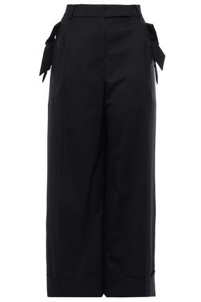SIMONE ROCHA Cropped bow-embellished wool-blend twill wide-leg pants