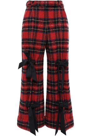 SIMONE ROCHA Bow-embellished checked bouclé-tweed wide-leg pants