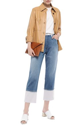 J BRAND Wynne cropped two-tone high-rise straight-leg jeans