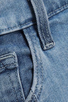 J BRAND Ruby cropped two-tone high-rise slim-leg jeans