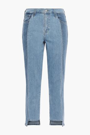 J BRAND Ruby cropped two-tone high-rise slim-leg jeans