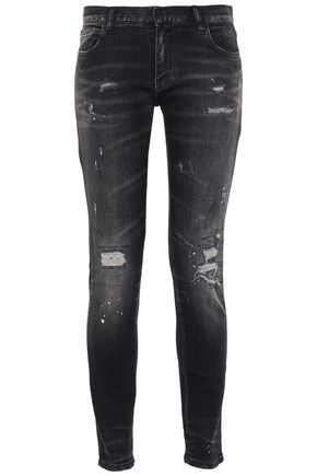 FAITH CONNEXION Distressed mid-rise slim-leg jeans