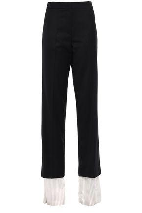 PUSHBUTTON Layered wool-blend twill and satin-twill straight-leg pants