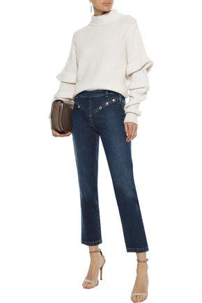 FRAME Le High Straight studded high-rise straight-leg jeans