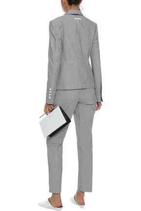 JASON WU Denim-paneled striped cotton-blend seersucker straight-leg pants