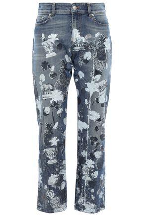 VERSUS VERSACE Cropped metallic printed high-rise straight-leg jeans