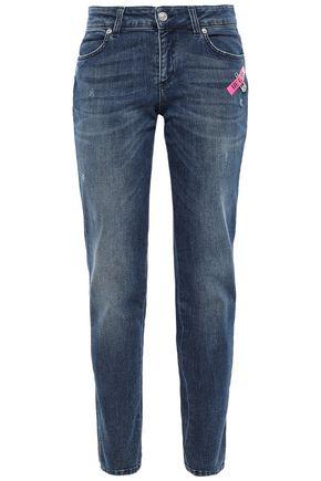 VERSUS VERSACE Appliquéd faded mid-rise straight-leg jeans