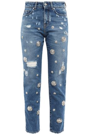VERSUS VERSACE Distressed high-rise slim-leg jeans
