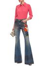 GUCCI Embroidered mid-rise flared jeans