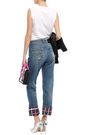 VERSUS VERSACE Cropped paneled distressed mid-rise straight-leg jeans