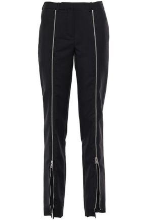 GIVENCHY Zip-detailed mohair and wool-blend straight-leg pants