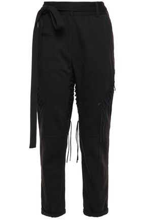 SAINT LAURENT Belted lace-up cotton and linen-blend twill tapered pants