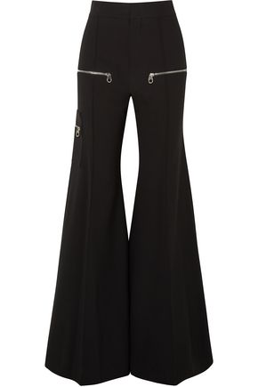 CHLOÉ Zip-detailed stretch-wool flared pants