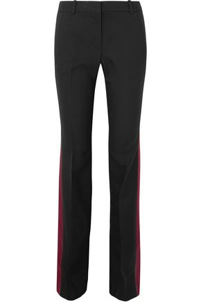 ALEXANDER MCQUEEN Satin-trimmed striped wool-blend bootcut pants