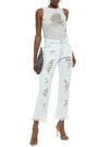 VERSUS VERSACE Cropped chainmail-embellished distressed high-rise straight-leg jeans