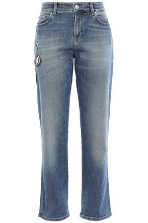 VERSUS VERSACE Appliquéd faded high-rise slim-leg jeans