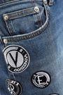 VERSUS VERSACE Appliquéd faded high-rise slim-leg jeans