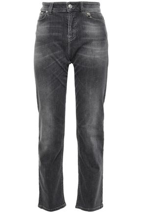 VERSUS VERSACE Embellished faded high-rise straight-leg jeans