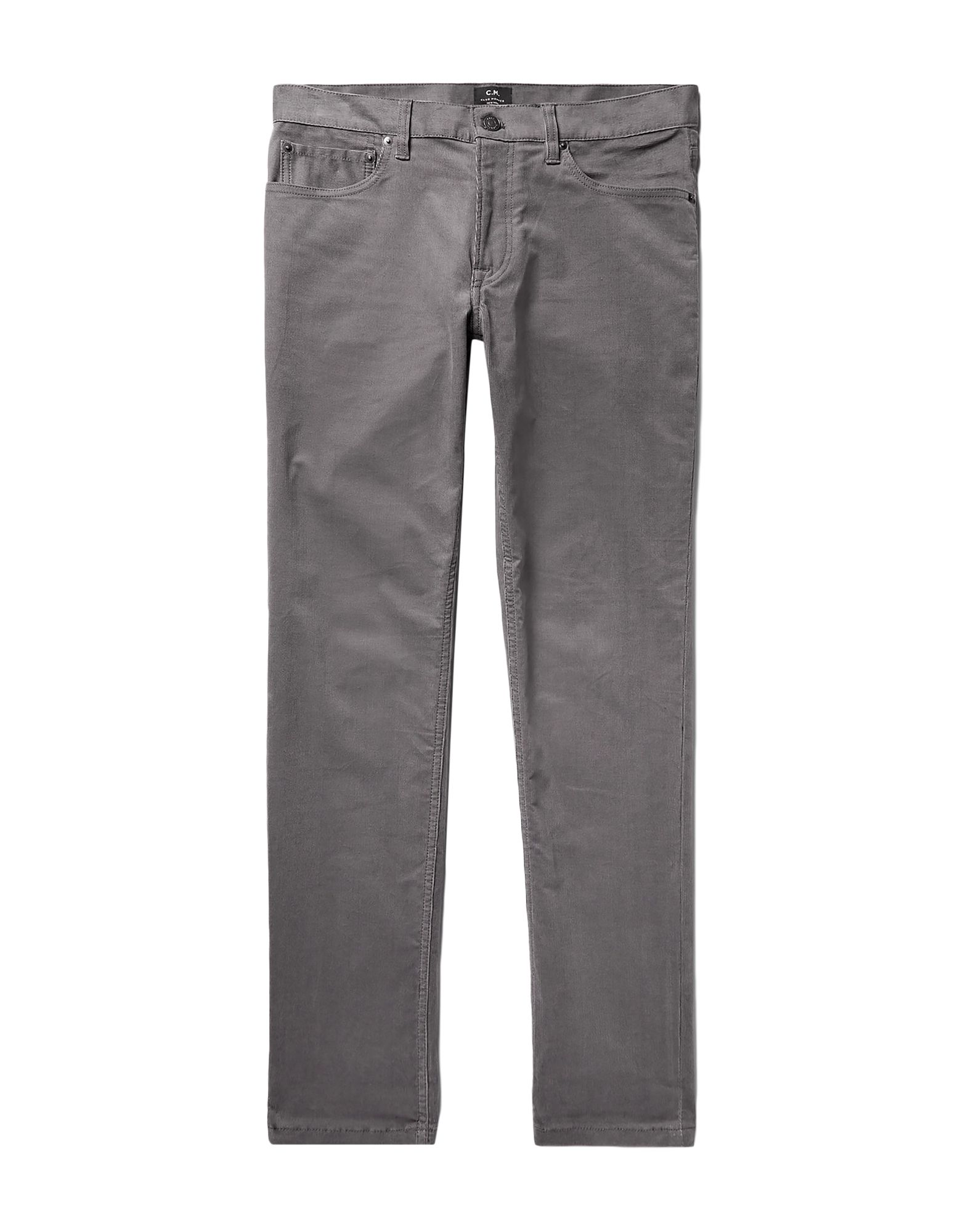 CLUB MONACO Casual pants. velvet, ribbed, studs, logo, basic solid color, mid rise, regular fit, tapered leg, button, zip, multipockets, stretch. 98% Cotton, 2% Elastane